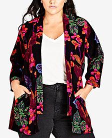 City Chic Trendy Plus Size Printed Kimono Top