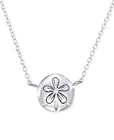 "Unwritten Sand Dollar 18"" Pendant Necklace in Sterling Silver"