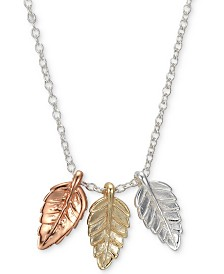 """Unwritten Tricolor Triple Leaf 18"""" Pendant Necklace in Sterling Silver, Gold-Flash & Rose Gold-Flash"""