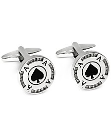 Sutton by Rhona Sutton Men's Silver-Tone Poker Chip Cufflinks