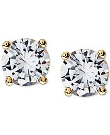 Men's Gold-Tone Stainless Steel Cubic Zirconia Stud Earrings