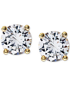 Sutton by Rhona Sutton Men's Gold-Tone Stainless Steel Cubic Zirconia Stud Earrings