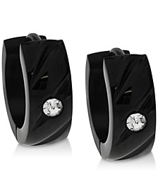 Men's Black-Tone Stainless Steel & Cubic Zirconia Small Hoop Earrings  s