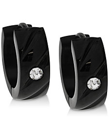 Sutton by Rhona Sutton Men's Black-Tone Stainless Steel & Cubic Zirconia Hoop Earrings