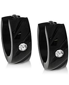 Sutton by Rhona Sutton Men's Black-Tone Stainless Steel & Cubic Zirconia Hoop Earrings