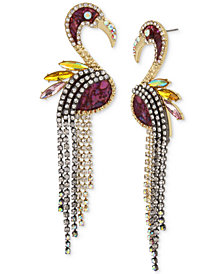 Betsey Johnson Two-Tone Pavé & Stone Flamingo Linear Drop Earrings