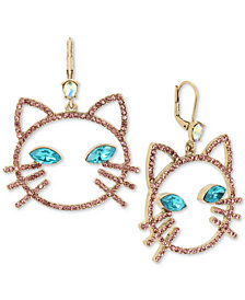 Betsey Johnson Gold-Tone Pavé & Stone Cat Head Drop Earrings