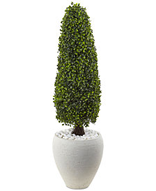 "Nearly Natural 41"" Boxwood UV-Resistant Indoor/Outdoor Artificial Topiary with Textured White Planter"