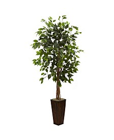 5.5' Ficus Artificial Tree in Bamboo Planter