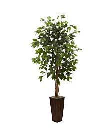 Nearly Natural 5.5' Ficus Artificial Tree in Bamboo Planter