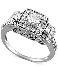 Diamond Halo Three-Stone Engagement Ring (3/4 ct. t.w.) in 14k White Gold