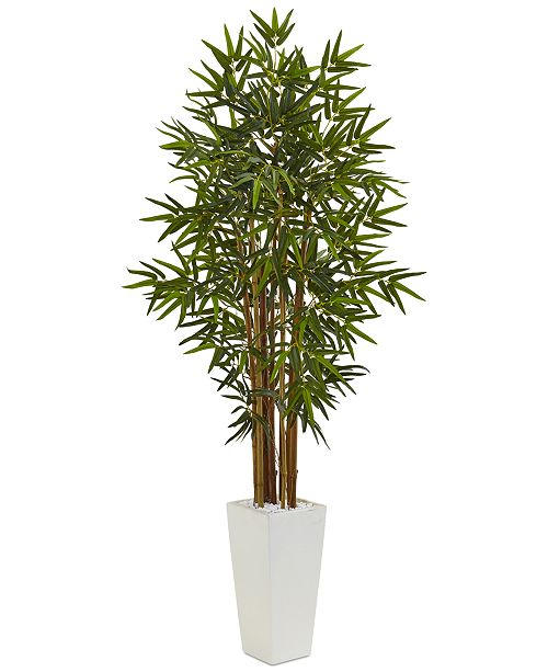 Nearly Natural 5' Bamboo Artificial Tree in White Tower Planter