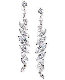 Nina Silver-Tone Crystal Linear Drop Earrings
