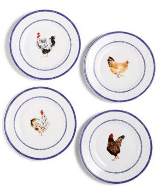 CLOSEOUT! Chicken Farmhouse Salad Plates, Set of 4