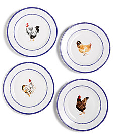 Martha Stewart Collection Chicken Farmhouse Salad Plates, Set of 4