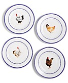 CLOSEOUT Martha Stewart Collection Chicken Farmhouse Salad Plates Set of 4