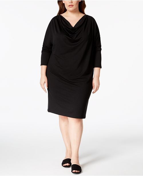 Plus Size Cowl-Neck Knit Dress, Created for Macy\'s