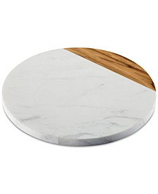 "Pantryware White Marble & Teak Wood 10"" Round Serving Board"