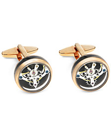 Sutton by Rhona Sutton Men's Stainless Steel Clock Gears Cufflinks