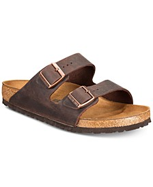 Men's Arizona Essentials Oiled Leather Two-Strap Sandals from Finish Line