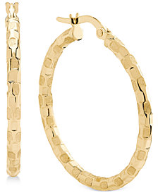 Patterned Hoop Earrings in 14k Gold