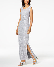 Connected Sequined Lace Slit Gown