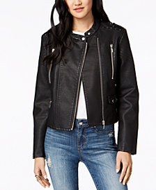 Collection B Juniors' Studded Faux-Leather Moto Jacket
