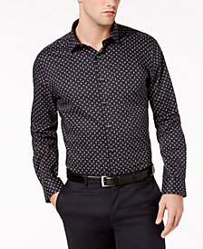 Bar III Men's Slim-Fit Stretch Easy-Care Tossed Daisy Print Dress Shirt, Created For Macy's