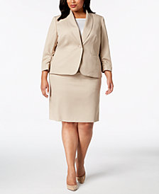 Le Suit Plus Size Ruched-Sleeve Textured Skirt Suit
