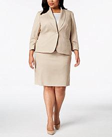 Le Suit Plus Size Ruched-Sleeve Textured Skirt Suit