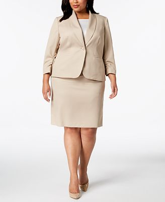 Le Suit Plus Size Ruched Sleeve Textured Skirt Suit Wear To Work