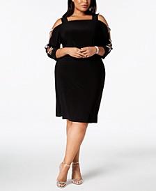 Plus-Size 3/4-Sleeve Rhinestone-Embellished Dress