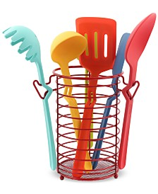 Fiesta 7-Pc. Silicone Utensil Set with Scarlet Caddy