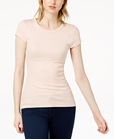 Bar III Ribbed T-Shirt, Created for Macy's