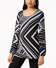 JM Collection Printed Grommet-Trim Top, Created for Macy's