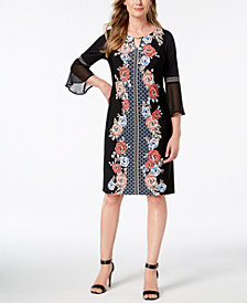 JM Collection Petite Printed Chiffon-Sleeve Dress, Created for Macy's