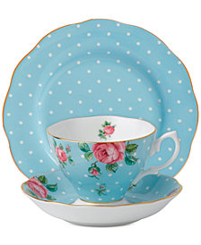 Royal Albert Polka Blue Vintage 3-Pc. Set