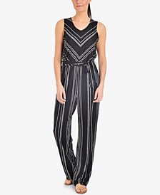 NY Collection Petite Striped V-Neck Jumpsuit
