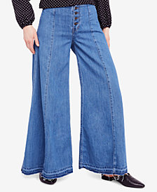 Free People Cotton Wide-Leg Button-Fly Jeans