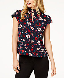 Zoe by Rachel Zoe Mock-Neck Peplum Top, Created For Macy's
