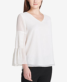 Calvin Klein Pleated Bell-Sleeve Blouse
