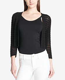 Calvin Klein Open-Front Cropped Knit Cardigan