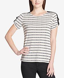 Calvin Klein Dot-Striped Buckle-Trim Top
