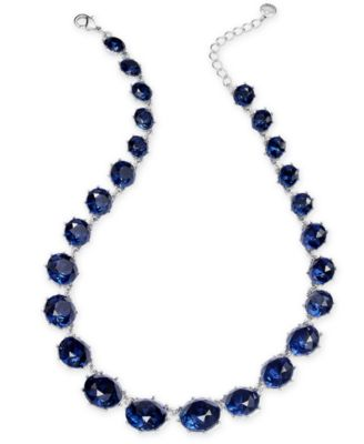 """Silver-Tone Stone Collar Necklace, 17"""" + 2"""" extender, Created for Macy's"""