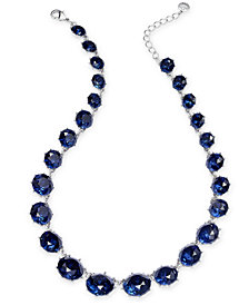 "Charter Club Silver-Tone Stone Collar Necklace, 17"" + 2"" extender, Created for Macy's"