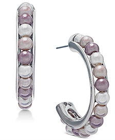 Charter Club Silver-Tone Imitation Pearl Open Hoop Earrings, Created for Macy's