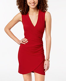 Crystal Doll Juniors' Ruched Faux-Wrap Dress
