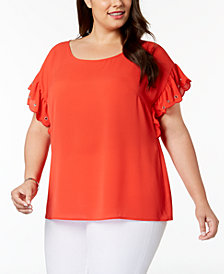MICHAEL Michael Kors Plus Size Scalloped-Sleeve Blouse