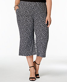 MICHAEL Michael Kors Plus Size Cropped Leopard-Print Wide-Leg Pants