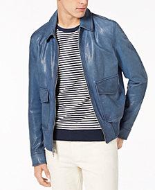 Michael Kors Men's Garment-Washed Leather Bomber Jacket